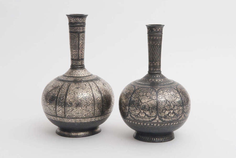 Indian Silver Bidri Ware Bottles, Bidar 19th century
