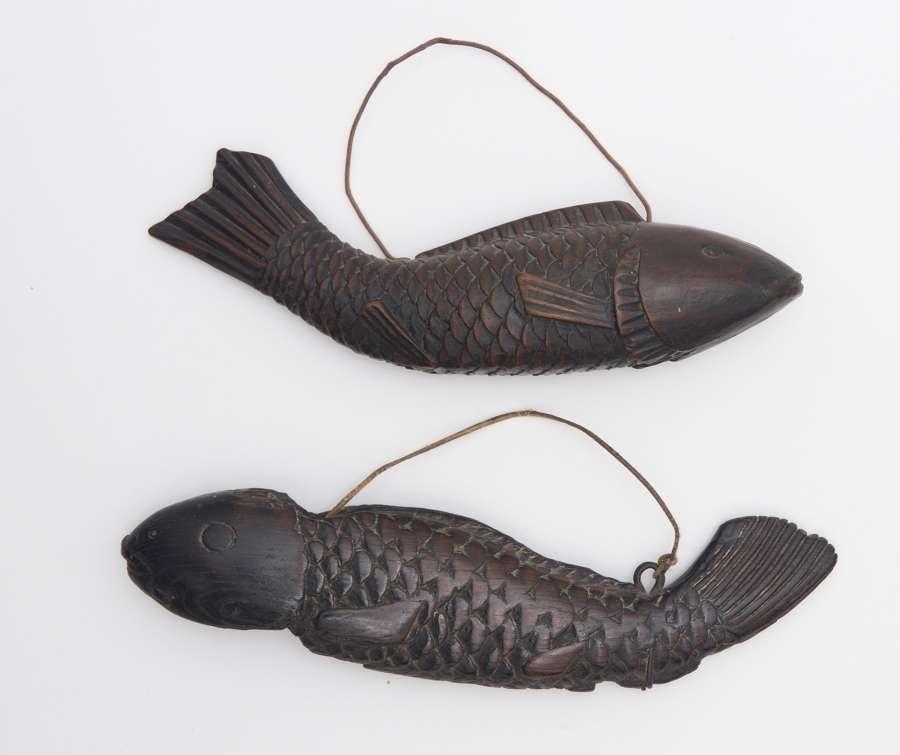 Two Japanese wooden Jizai kagi (kettle hook)
